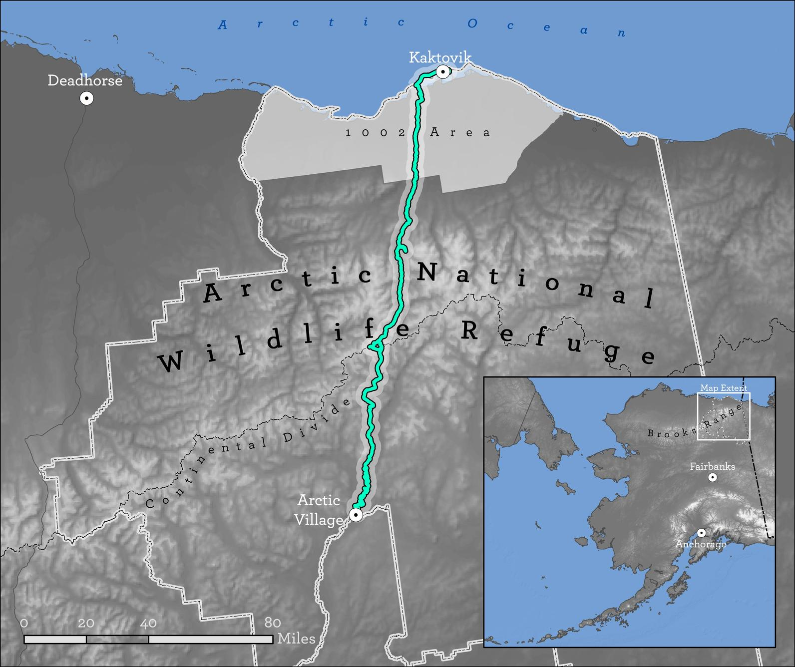 Ben and Sarah's route traversing the Arctic National Wildlife Refuge.
