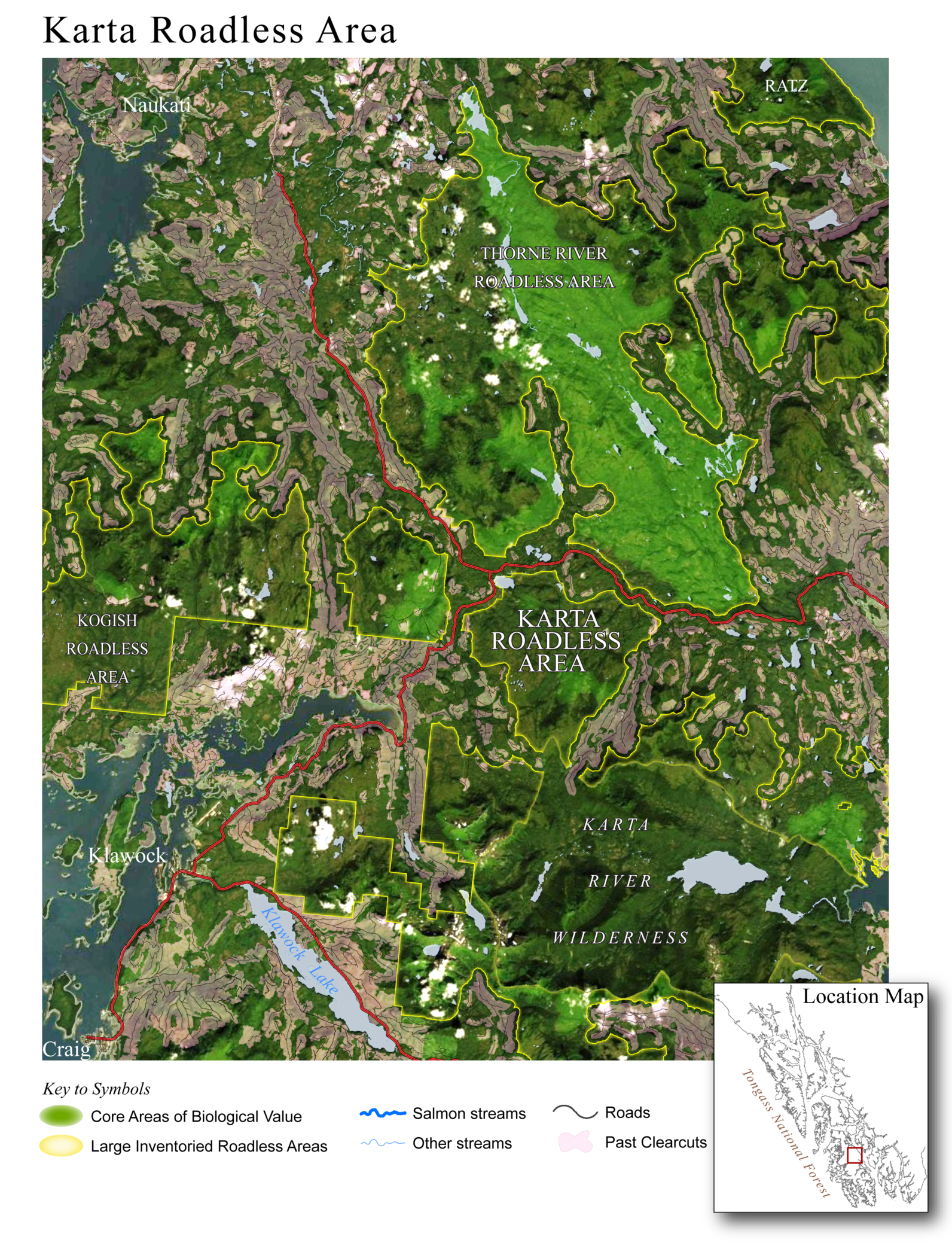 Karta Roadless Area on Prince of Wales Island