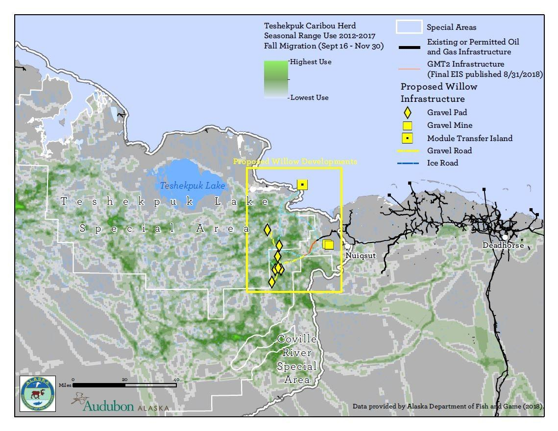 Map of Teshekpuk Caribou Herd fall migration with existing and proposed drilling infrastructure.