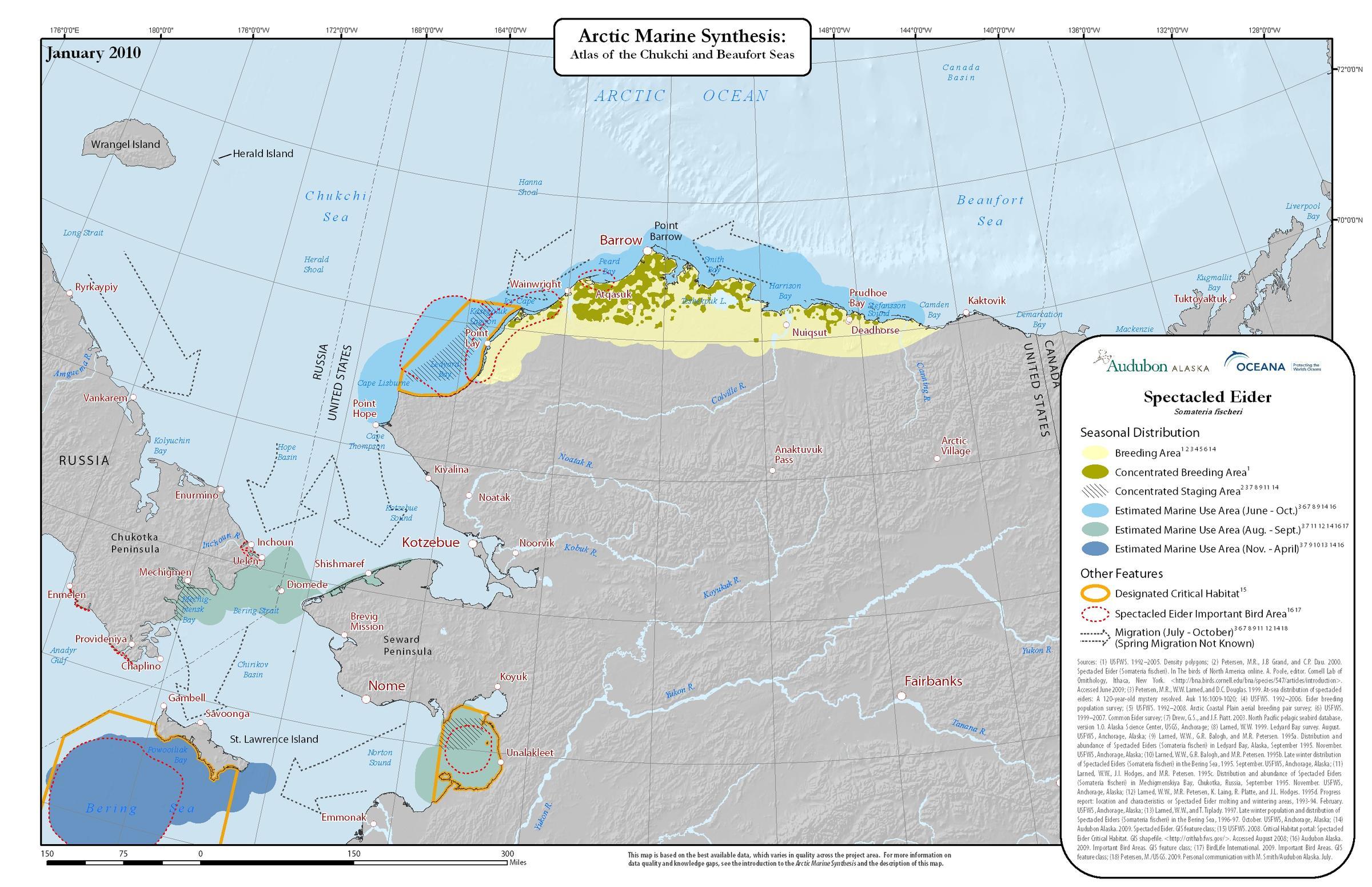 Arctic Marine Atlas Spectacled Eider map
